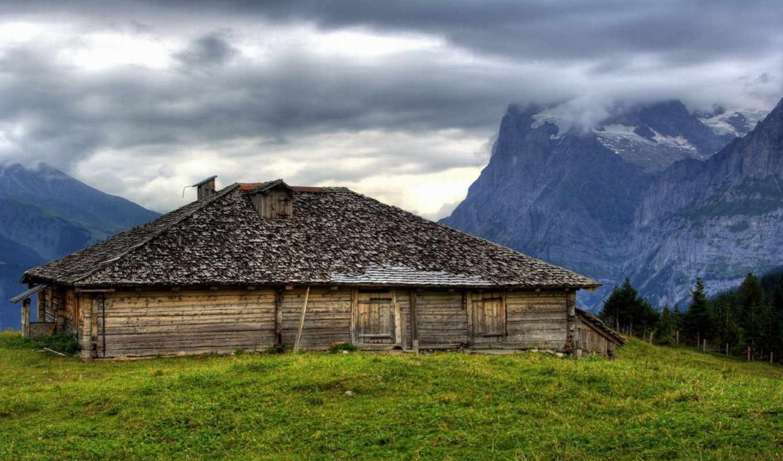гора, dom, горах, горы, старый, priroda, трава, desktop, тапети,