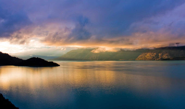 природа, landscape, утро, море, water, горы, расвет, залив,
