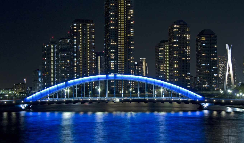 tokyo, взгляд, япония, мост, эитаи, город,