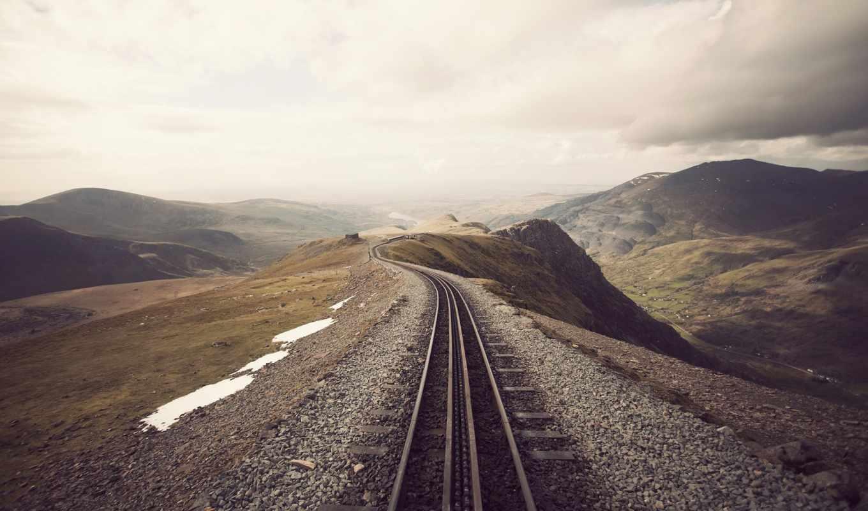горы, железная дорога, небо, дорога,
