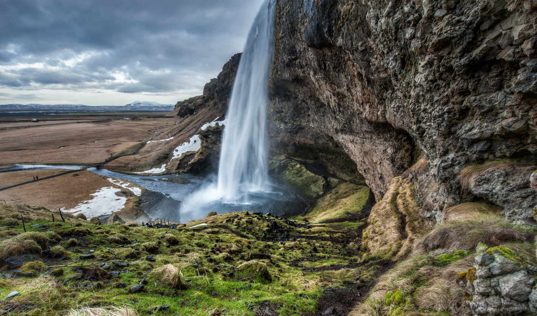 водопад, iceland, this, природа, февр, скалы, горы, cliff, облака, that, seljalandsfoss,
