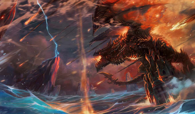 world, warcraft, wow, deathwing, буря, cataclysm, дракон, guo, jian, art,