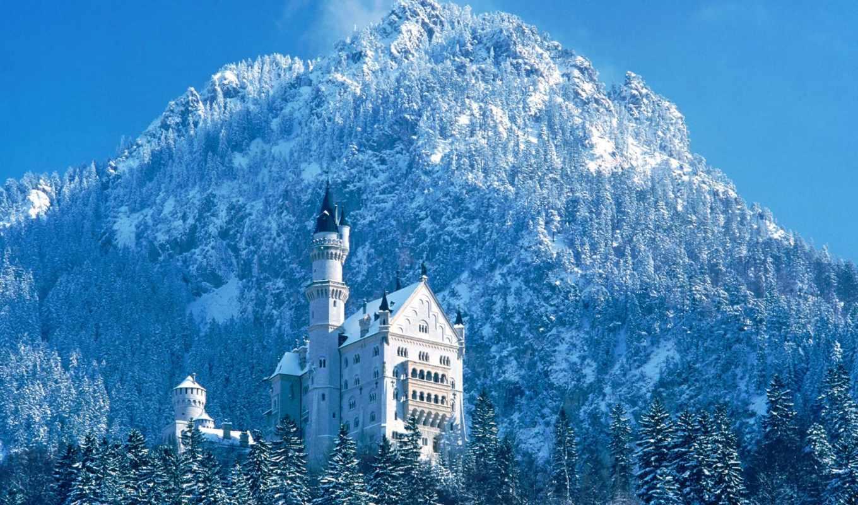 нойшванштайн, castle, нойшванштайн, германия, pack, бавария, января,
