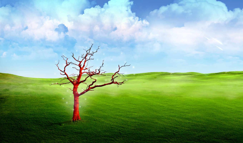 fantasy, landscape, дерево, трава, природа, небо, oblaka, world,
