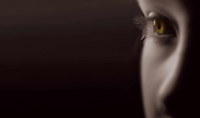 глаз, девушка, глаза, чёрн, фон