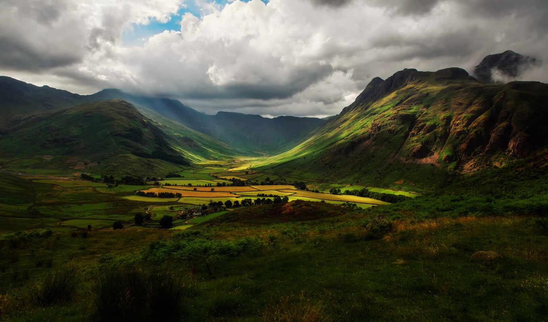 горы, англия, долина, небо, поля, холмы, картинка, картинку,