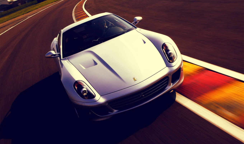 ferrari, gtb, трек, машина, fiorano, белая, скорость, white,