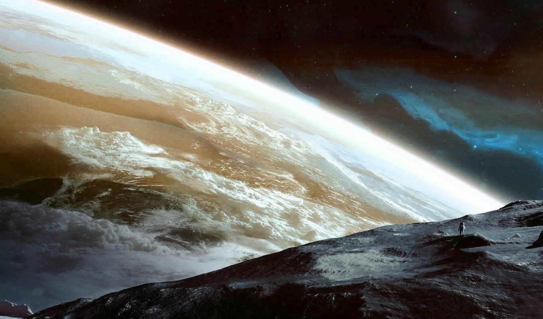 космос, erupção, vulcânica, papel, parede, planet,