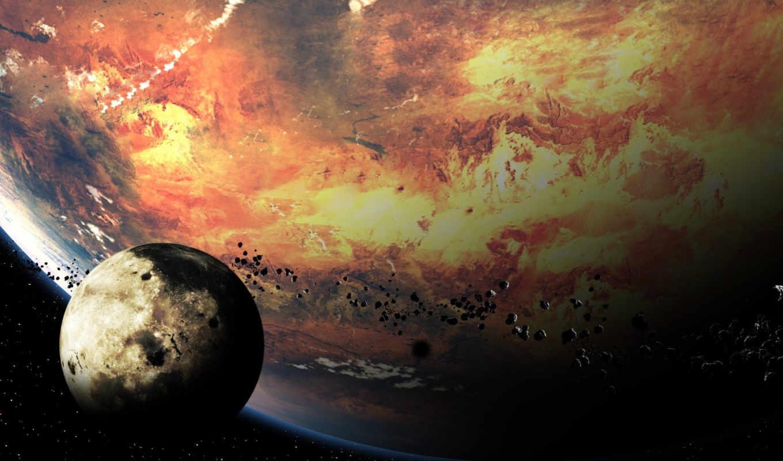 Обои Планета и спутник картинки на рабочий стол на тему Космос - скачать  № 43039 загрузить