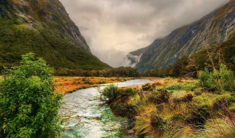 река, горы, горные, облака, природа, горная, город, лес, небо,