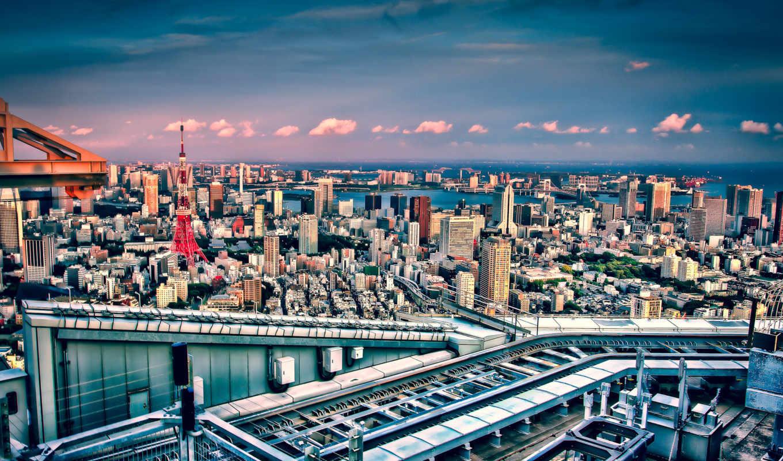 tokyo, япония, токийская, башня, город,