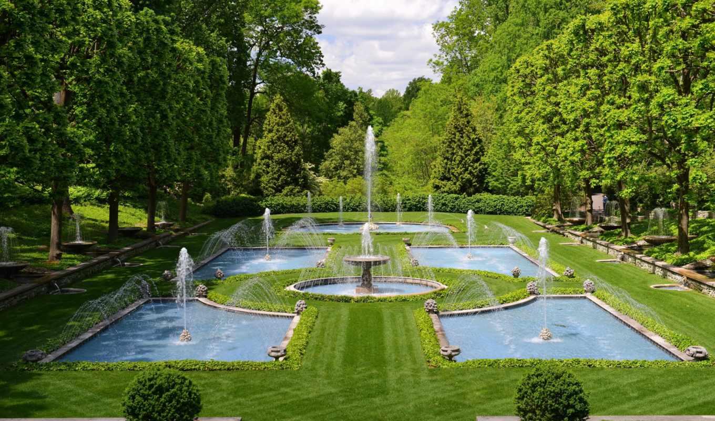 картинка, природа, usa, газон, landscape, garden, design, fountains, italian, трава,