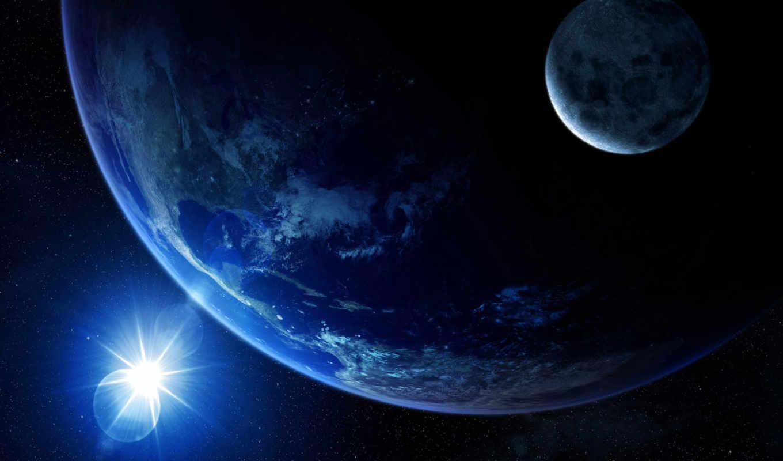 ,солнце, земля, луна, космос
