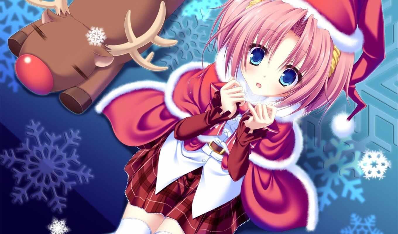anime, новогодние, new, год, часть, art, girls, christmas, волосы,