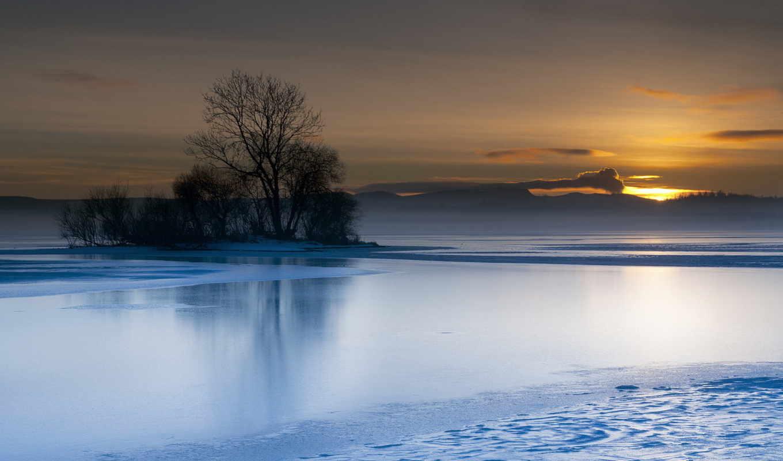 озеро, закат, пейзаж, дерево, картинку, картинка, кнопкой, мыши,