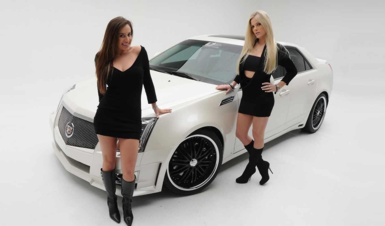 девушки, авто, красивые, две, cadillac, cts, близко,