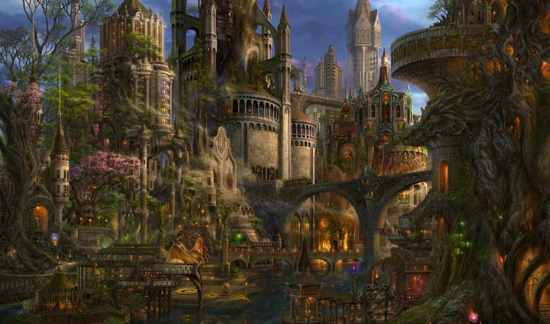uchio, kazumasa, город, кликабельно, art, красивые, невероятные, миры,
