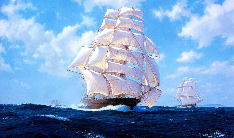 diamond, корабль, море, вышивка, sailboat