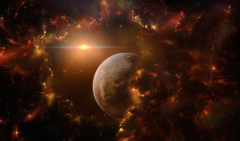 космос, планета, звезды, сияние, фантастика, огонь, картинка, beauty, картинку, разделе,