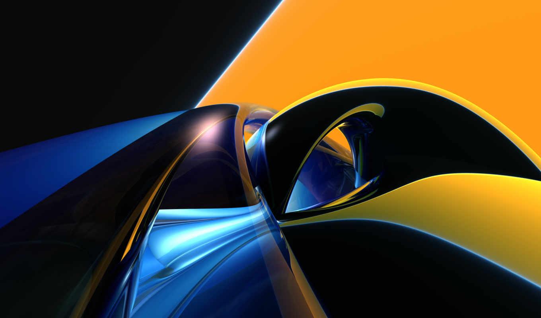абстрактная, графика, фона, blue, рабочем, yellow, столе, установка, computer, абстракция, molten, abstract,