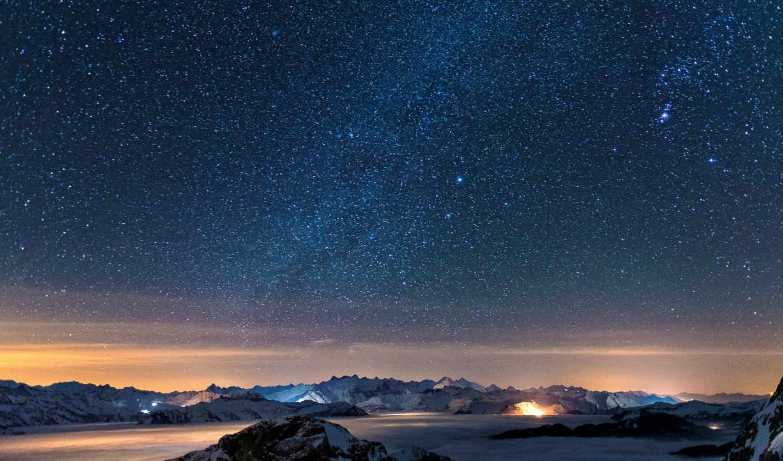 ночь, звезды, горы, небо, star,