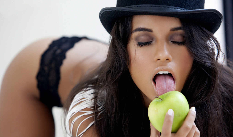 fuentes, lupe, цилиндр, брюнетка, девушка, язык, apple,