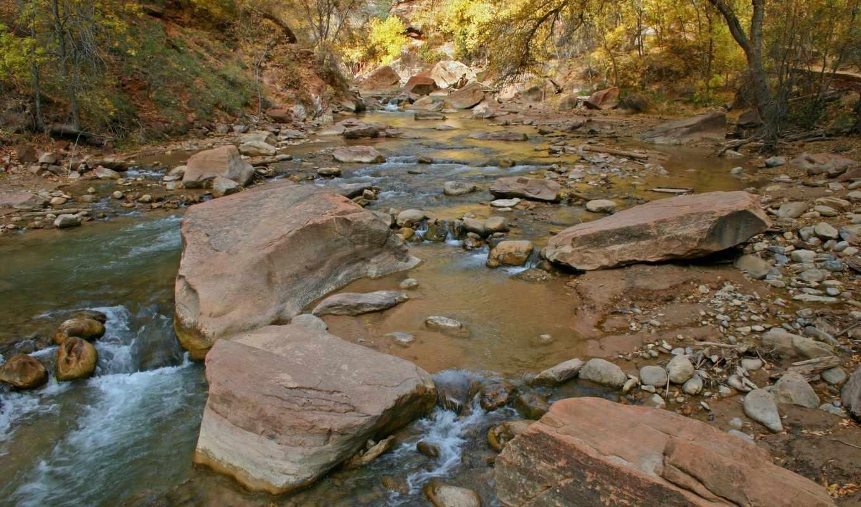 скалы, река, деревья, поток, water, природа, лес, реки, ручей,