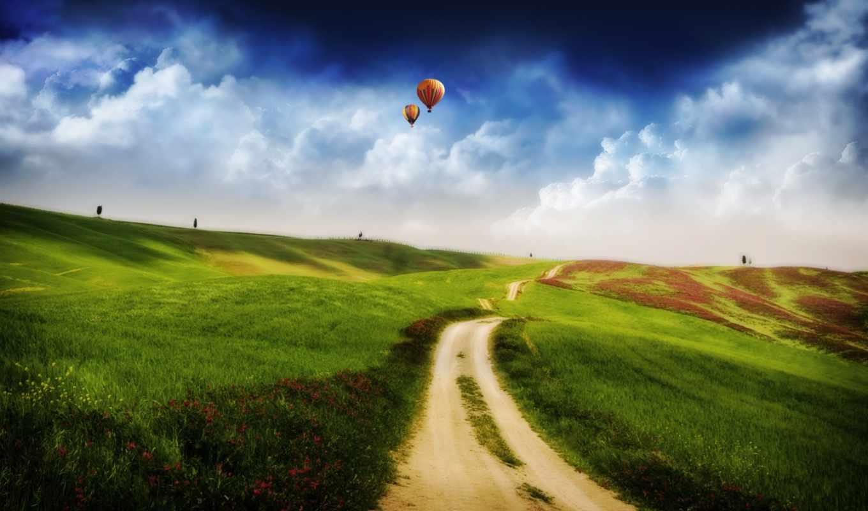 поле, небо, fantasy, дорога, balloon, природа, house, шары,