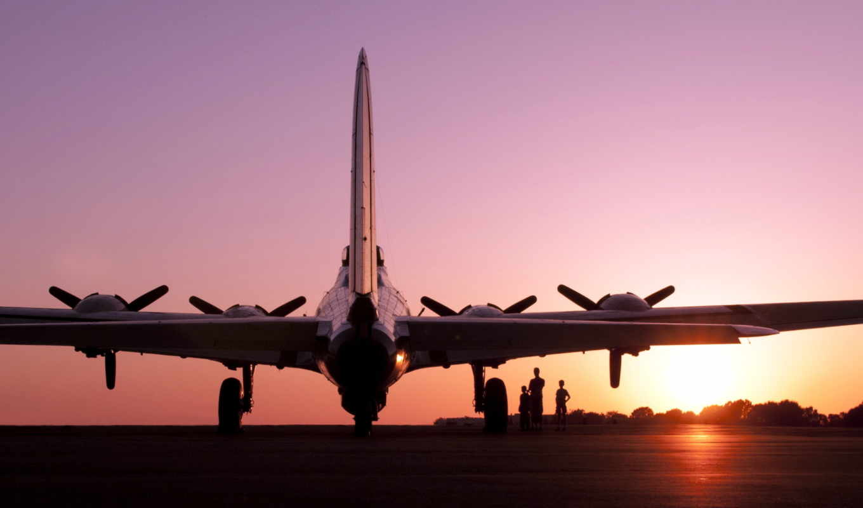 аэродром, самолёт, закат, часть, desktop, картинка, качественных,