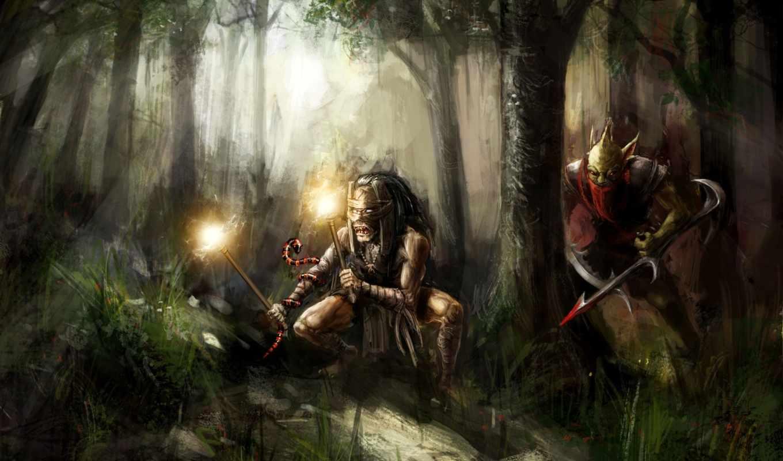 фэнтези, охотник, охотника, art, nice, молодого, человека, одежде, похожего, за, шаман, назад,