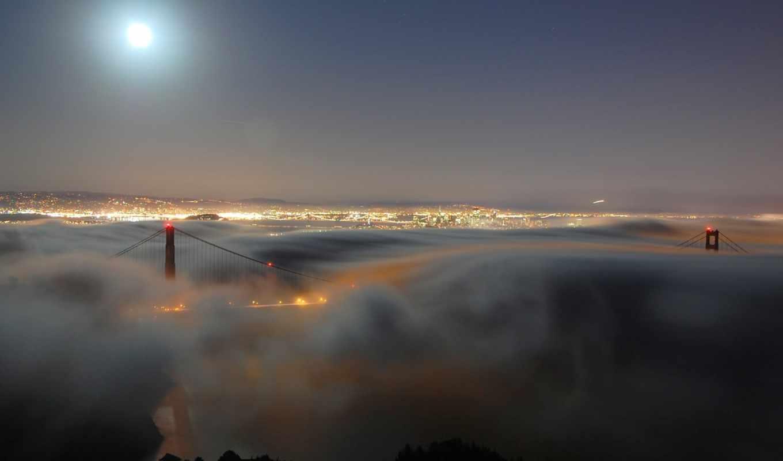 ночь, туман, город, огни, луна,