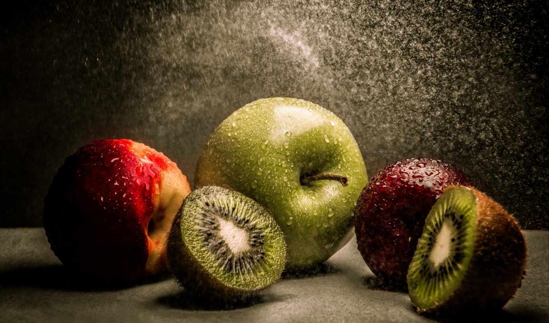 ,фрукты, напитки, еда, киви,яблоко,