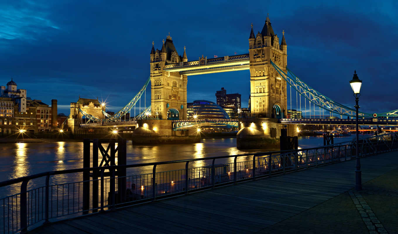 англия, london, город, тауэрский, мост, thames, ночь,
