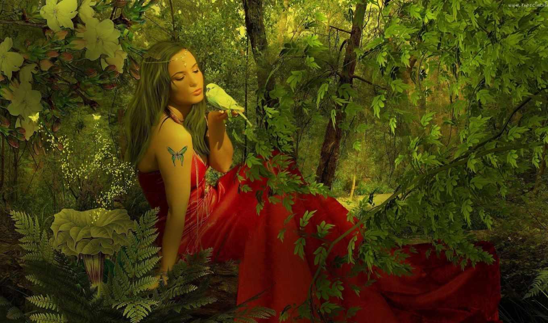 природа, девушка, нефть, art, картинка, canvas, платье, лес, дек,