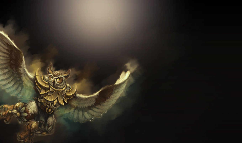 сова, воин, когти, крылья, полет, art,