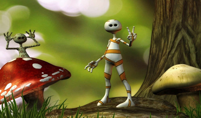 cartoon, mushroom, art, digital, fantasy, mushrooms, views, трава, sci,
