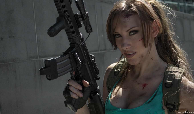 девушка, крофт, акпп, автоматом, оружие, croft, косплей, лара, devushki, cosplay, оживить,
