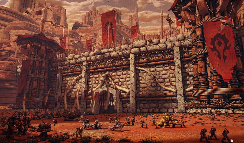 крепость, орда, орки, знамена, горы, warcraft, world, wow,