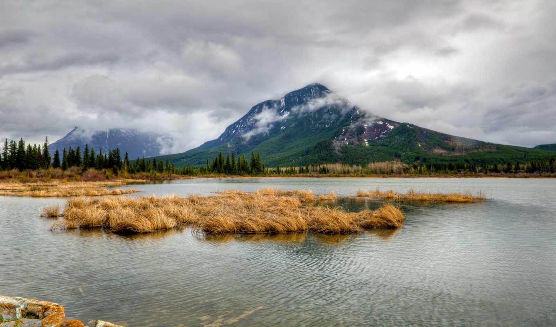 горы, облака, деревья, небо, картинку, картинка, save, nature, lakes, елки, выберите, кнопкой, правой, мыши, скачивания, склон, vermilion,