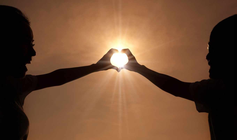 руки, сердце, солнце, радость, он и она, небо
