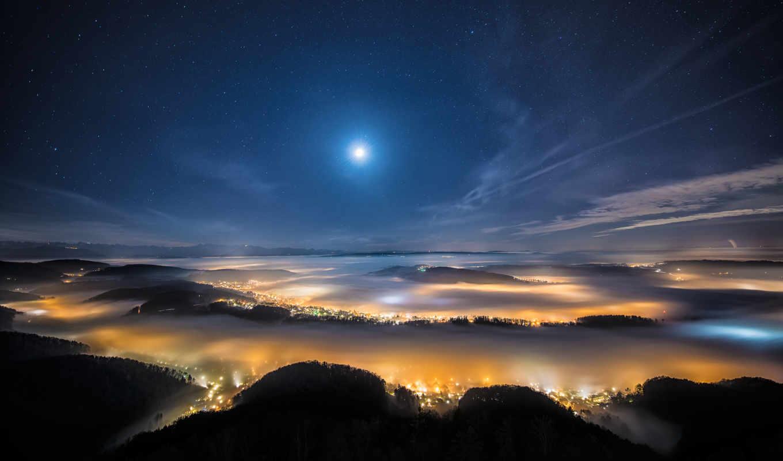 город, горы, взгляд, небо, вечер,