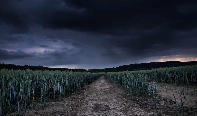 фронтовой, тучи, поле, грозой, landscape, далее, ago, природа, пейзажи -,