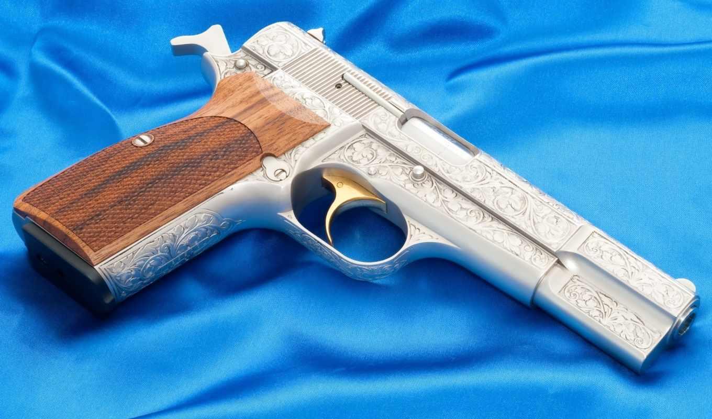 оружие, пауэр, браунинг, пистолет, хай, синее, полтно,