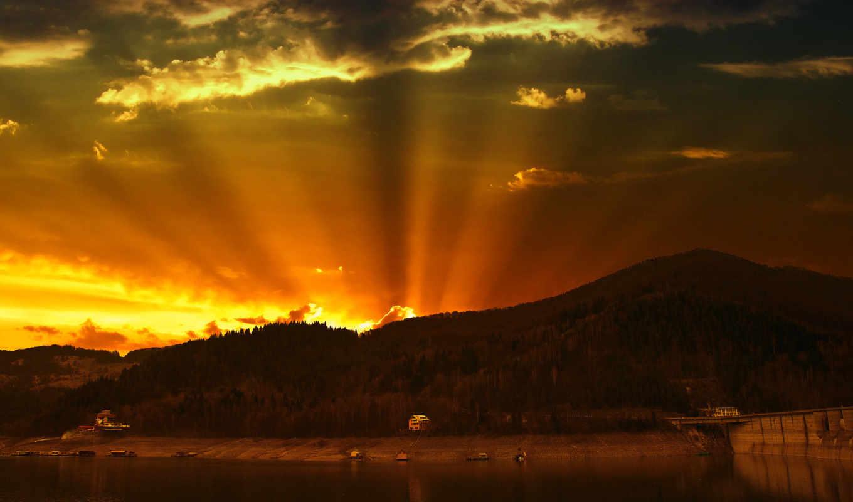 заката, светом, горы, небо, облака,