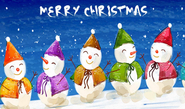 christmas, снеговики, merry, новогодние, everyone, цвет, год, desktop, новый, hintergrundbilder, праздники,