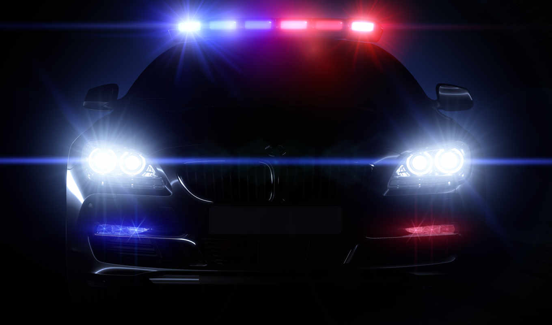 night, car, police, headlight, light, front, lamp, motor, lights,