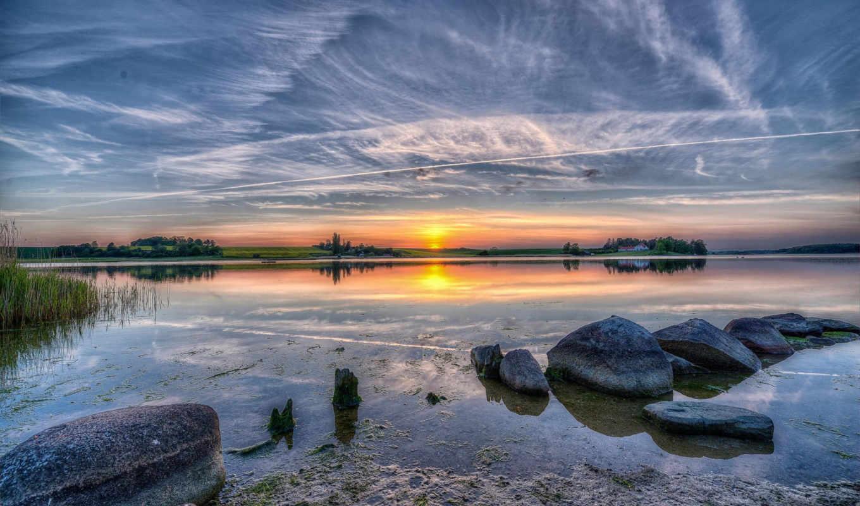pantalla, небо, озеро, fondos, fondo, солнце, paisajes,