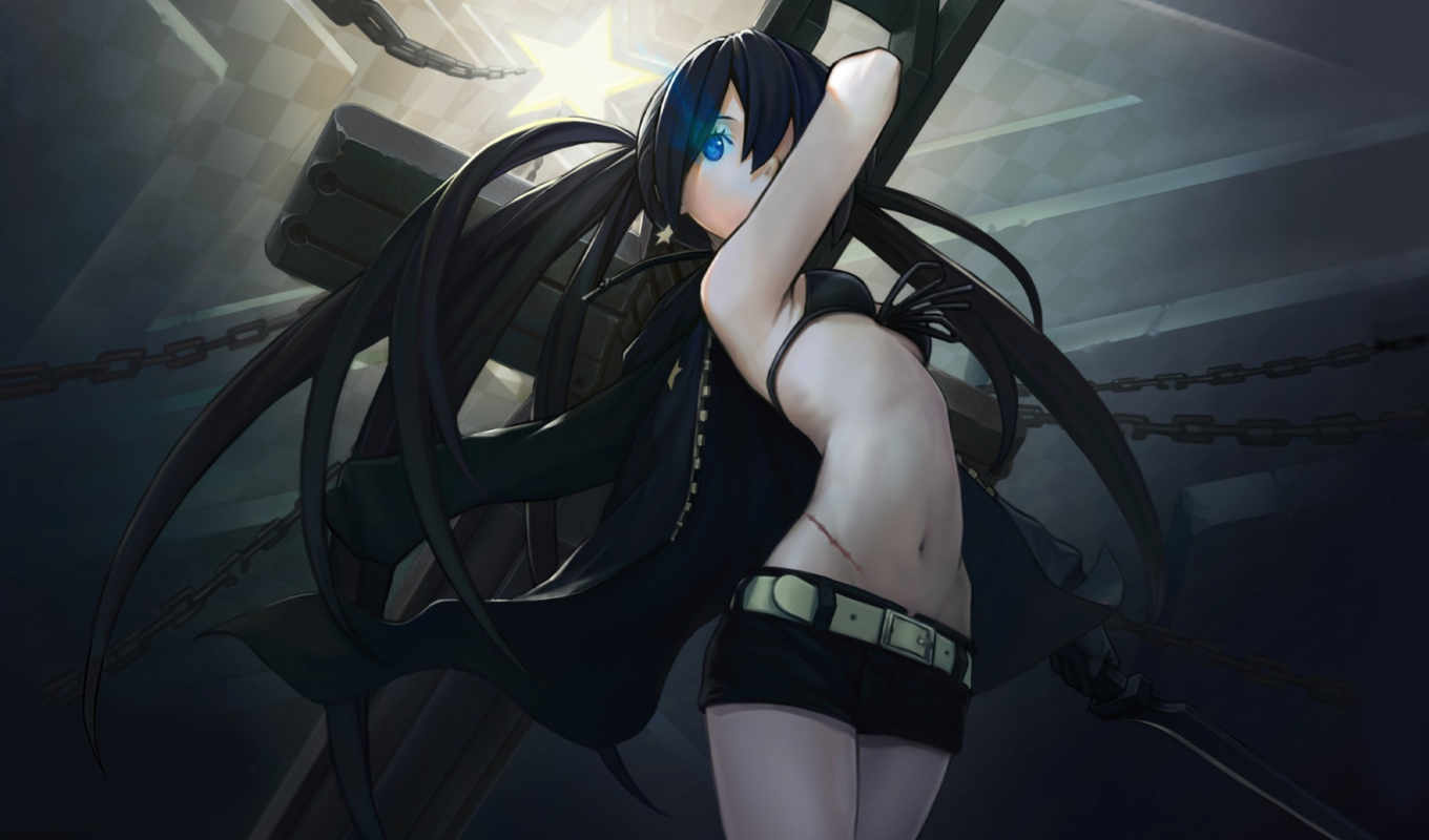 black, shooter, rock, скалы, anime, черной,