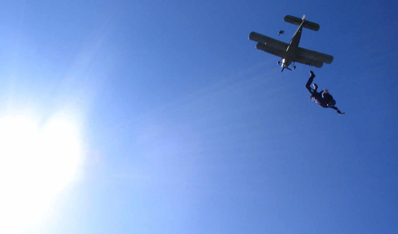 солнце, самолёт, небо, парашютист, экстрим, картинку, картинка,