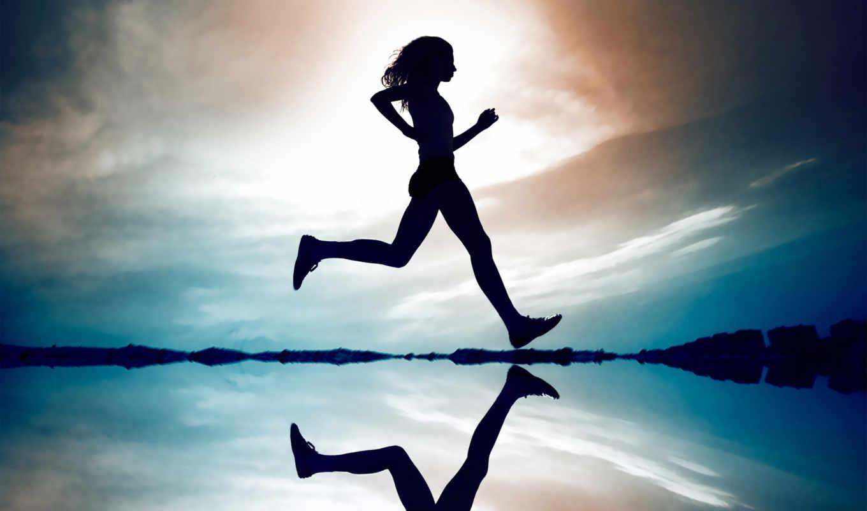 девушка, бег, небо, отражение, вода, картинка, running, вертикали, имеет, горизонтали, life, бегущая,